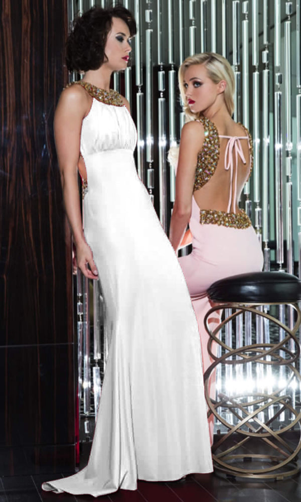 1331 White Pia Michi High Neck Evening Gown With Train