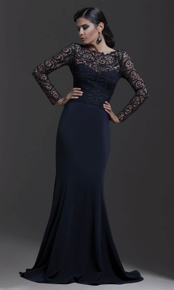 1386 Navy Pia Michi Lace Top Evening Dress With Sleeves - Fab Frocks