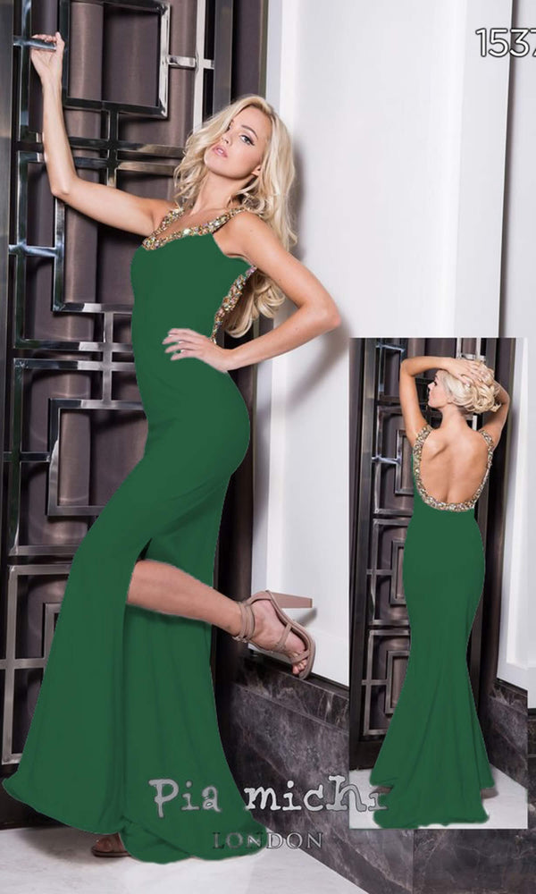 1537 Green Pia Michi Low Back Evening Dress With Split - Fab Frocks