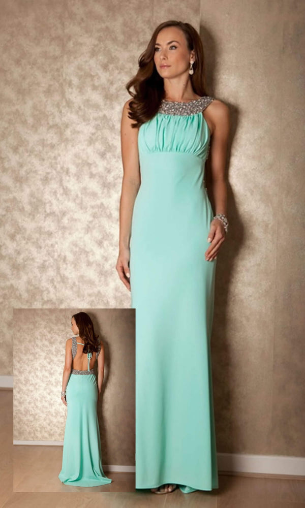 1619 Mint Pia Michi Low Back Evening Gown