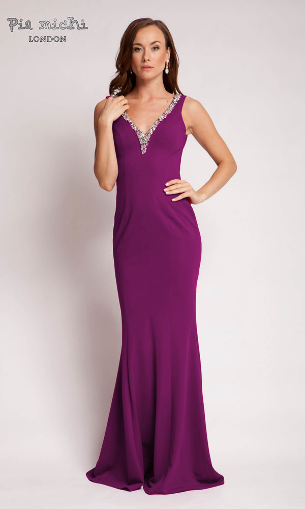 1672 Magenta Pia Michi Low Back Red Carpet Dress