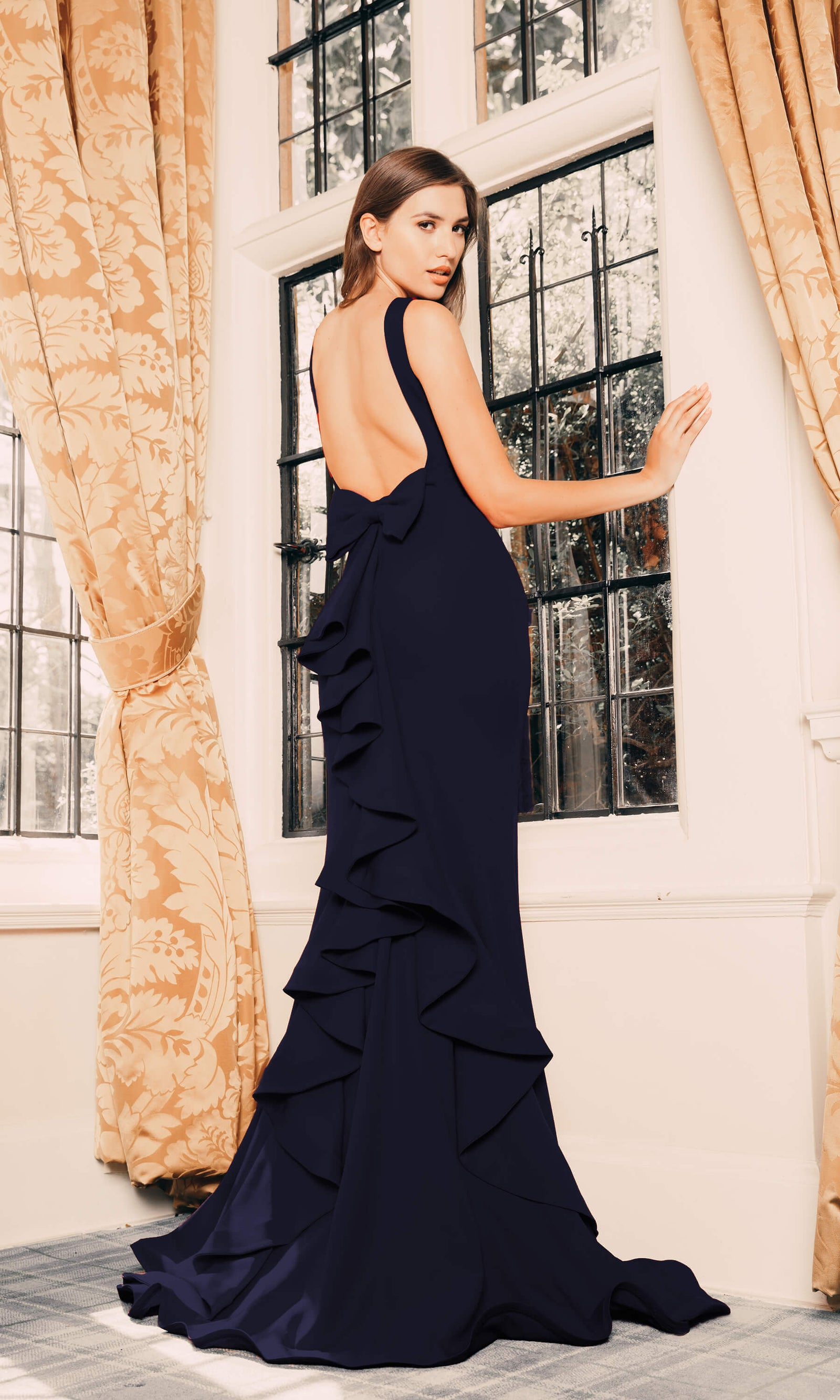 1791 Navy Pia Michi Ruffle Low Back Red Carpet Dress