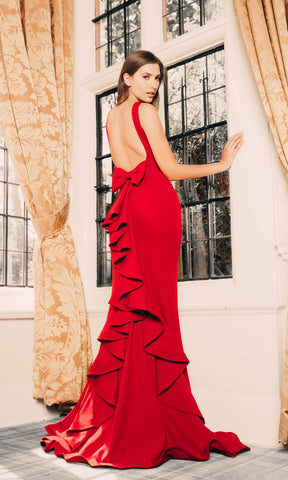 1791 Red Pia Michi High Neck Ruffle Back Evening Dress