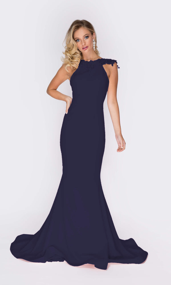 1811 Navy Pia Michi Low Back Dress With Lace Detail