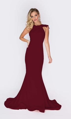 1811 Wine Pia Michi High Neck Low Back Evening Dress