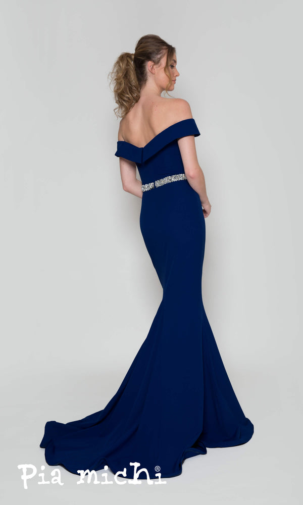 1860 Navy Pia Michi Bardot Off The Shoulder Evening Dress