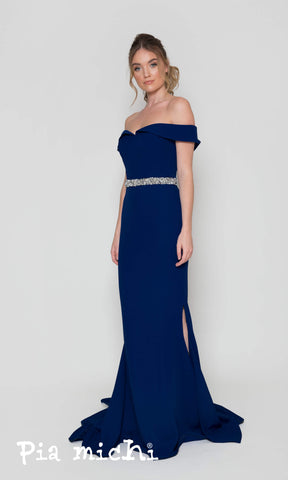 1860 Navy Pia Michi Bardot Off The Shoulder Evening Dress - Fab Frocks