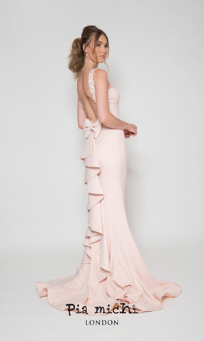 1976 Blush Pink Pia Michi Low Ruffle Back Evening Dress