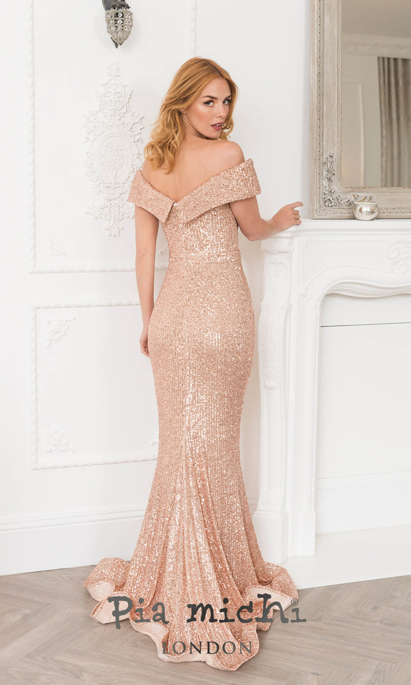 2072 Rose Gold Pia Michi Sequin Bardot Evening Prom Dress - Fab Frocks
