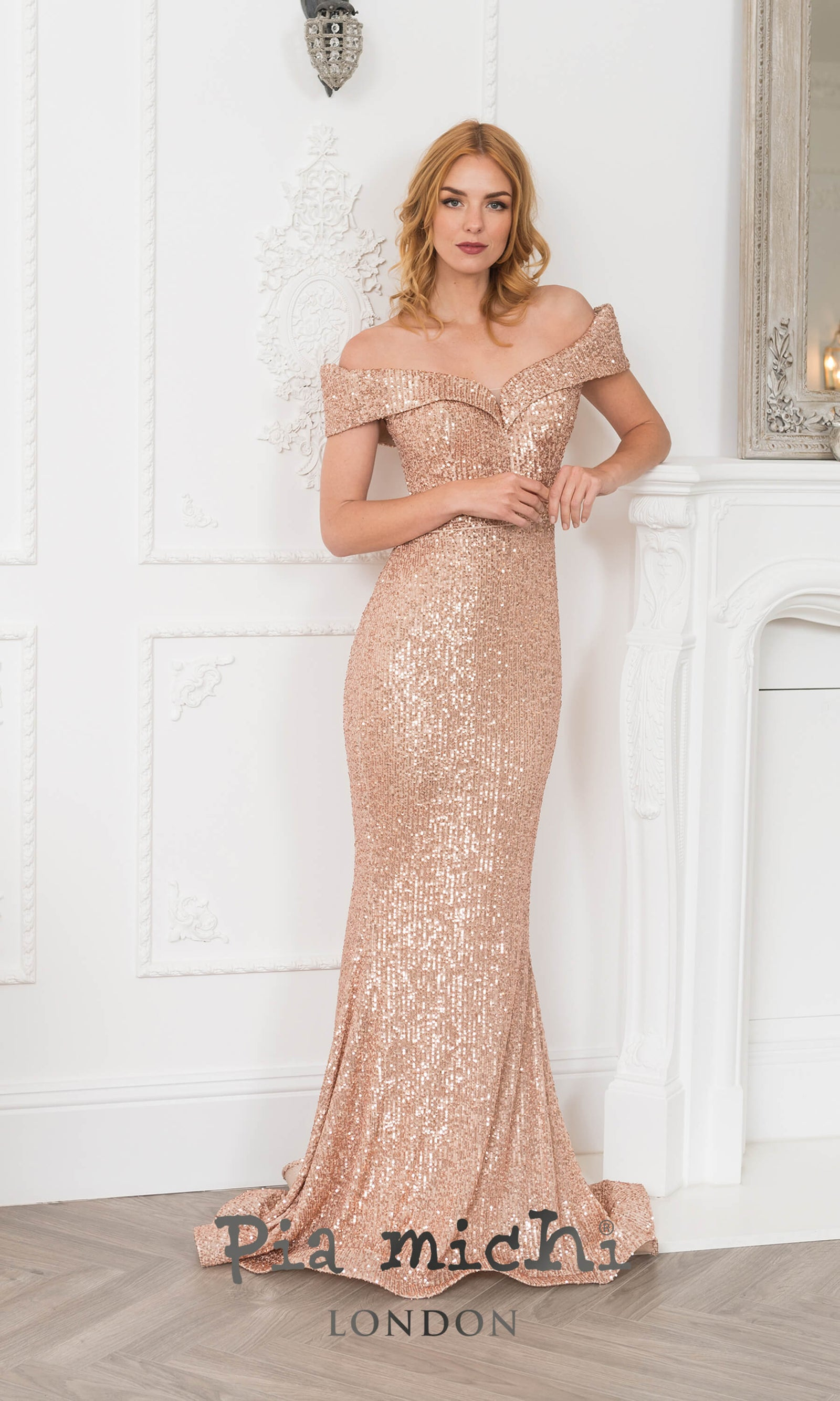 2072 Rose Gold Pia Michi Sequin Bardot Evening Prom Dress