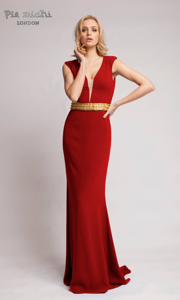 2749B Red Pia Michi Plunge Neck Evening & With Gold Belt