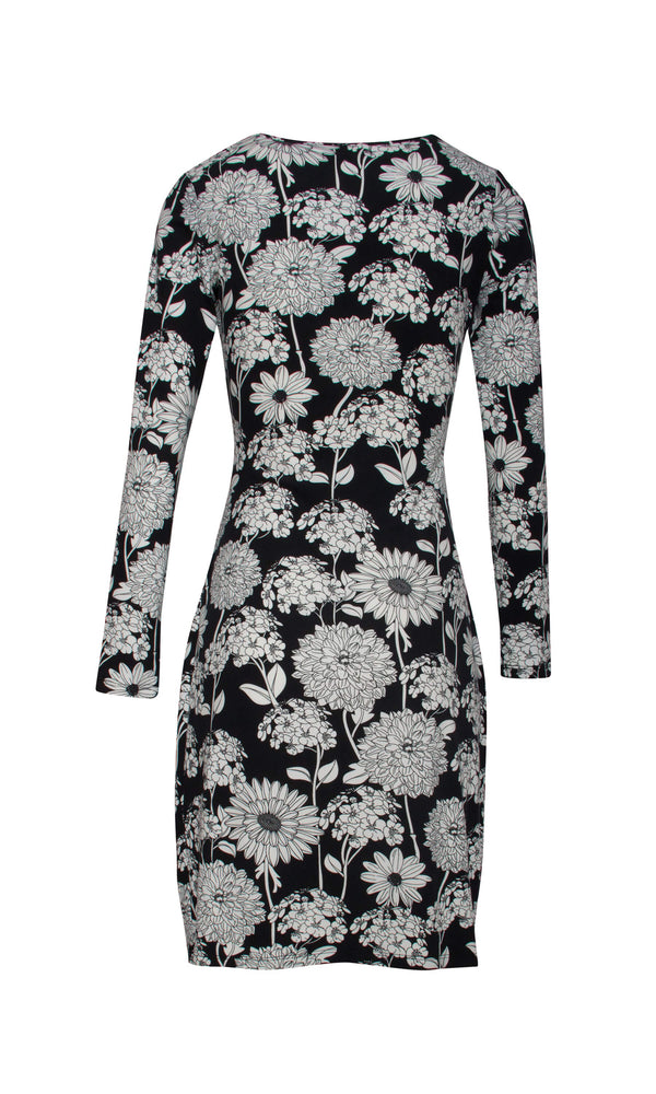 18577 Black Smashed Lemon Floral Print Day Dress - Fab Frocks