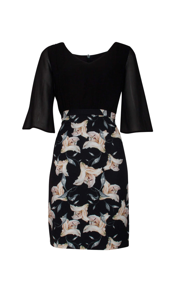 18694 Black Smashed Lemon Print Bell Sleeve Day Dress - Fab Frocks