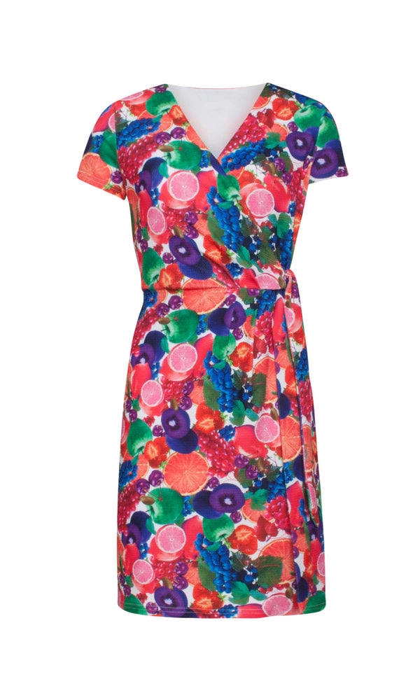 19052 Pink Smashed Lemon Fruit Print Wrap Style Day Dress