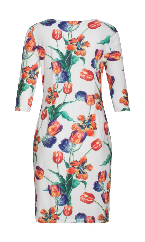 19234 White Smashed Lemon Tulip Print Dress With Sleeves