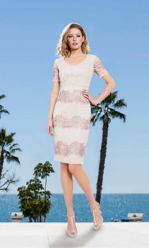 11190117 Pastel Pink Sonia Pena Lace Dress With Bolero - Fab Frocks