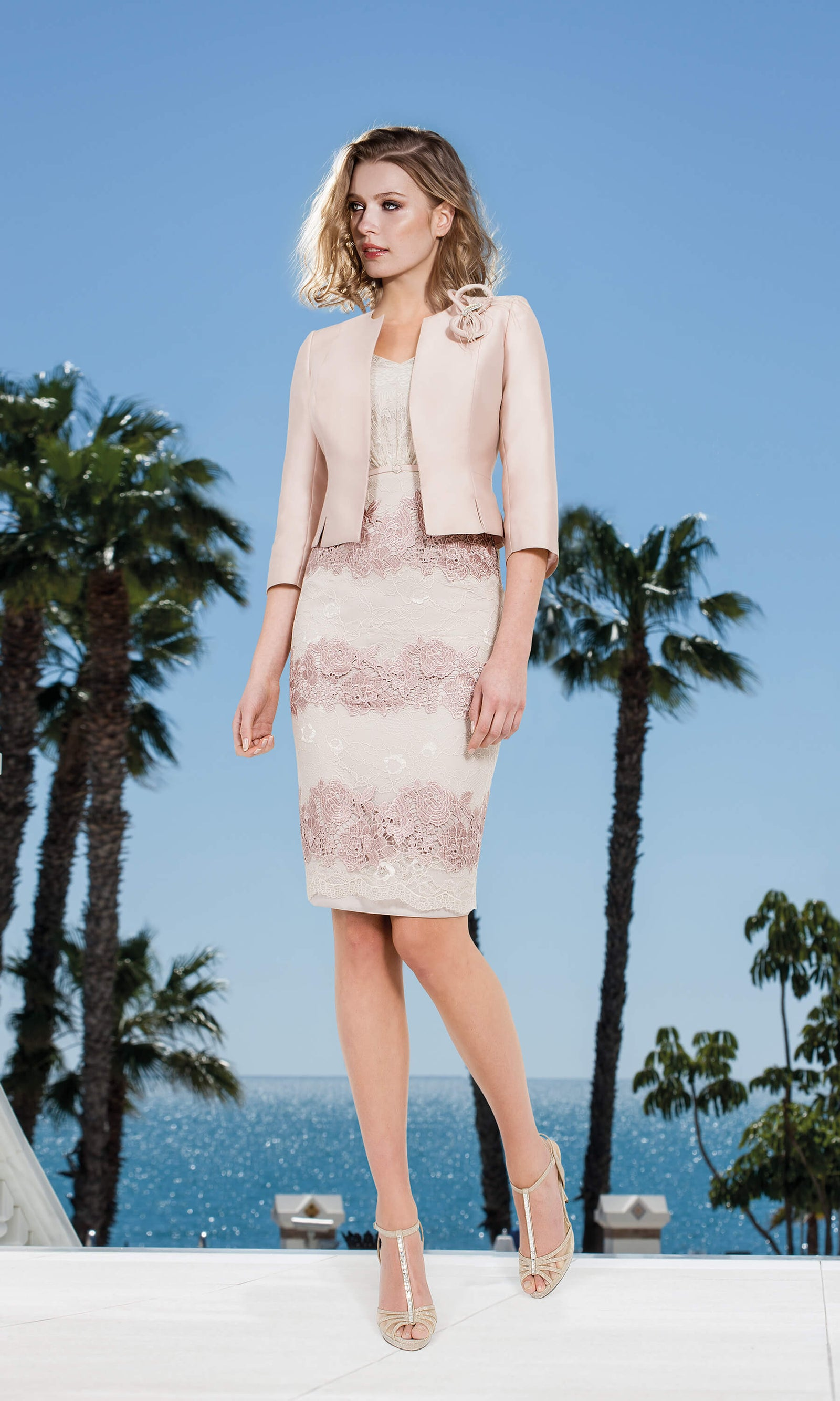 stable quality get new elegant shoes 11190117 Pastel Pink Sonia Pena Lace Dress With Bolero