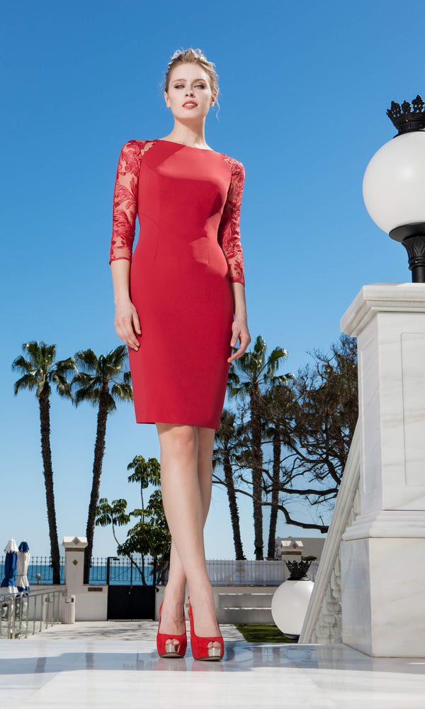 11190153 Red Sonia Pena Peplum Style Dress With Sleeves - Fab Frocks