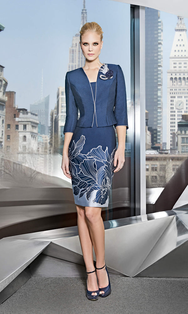 11191007 Navy Sonia Pena Abstract Dress & Cropped Jacket - Fab Frocks