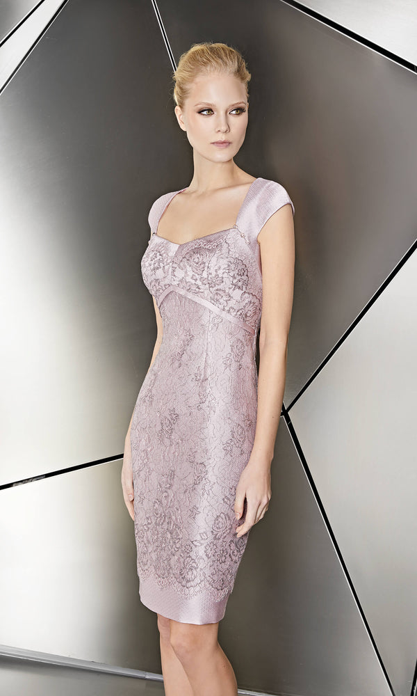 11191038 Pink Sonia Pena Lace Overlay Dress Peplum Jacket - Fab Frocks