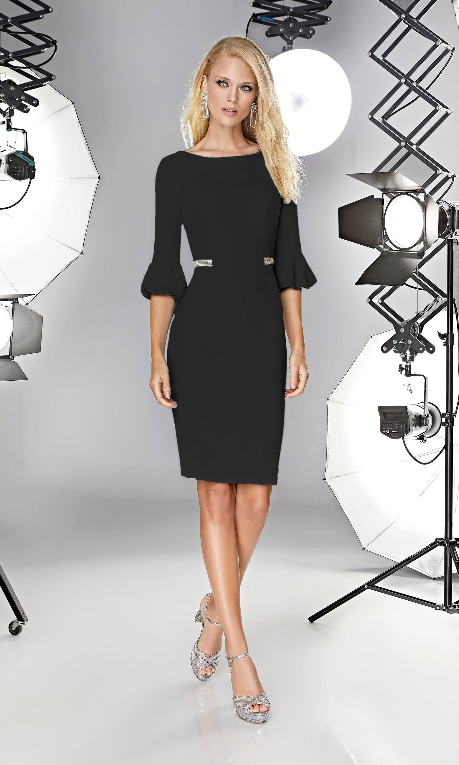12190002 Black Sonia Pena Dress With Puff Sleeves - Fab Frocks