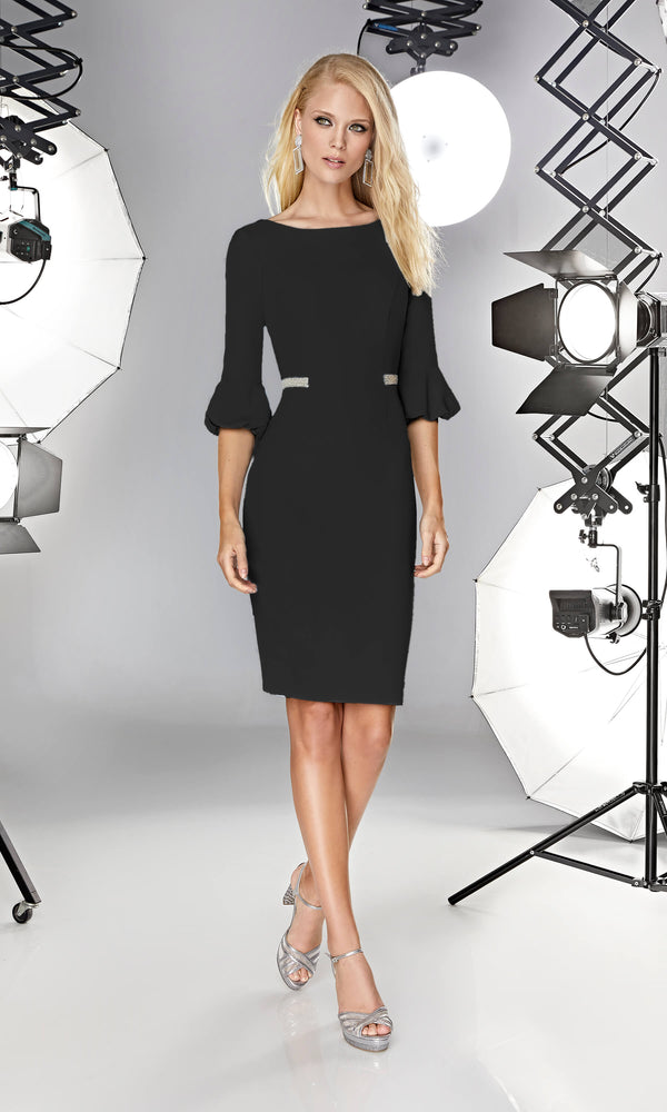 12190002 Black Sonia Pena Dress With Puff Sleeves