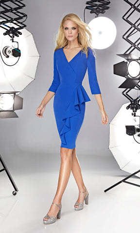 12190005 Royal Blue Sonia Pena Ruffle Dress With Sleeeves
