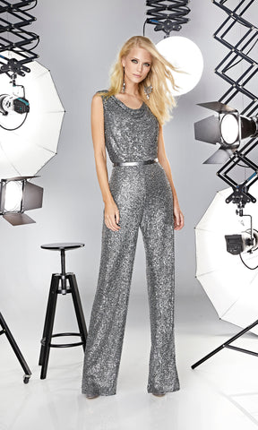 12190020 Anthracite Sonia Pena Cowl Neck Sequin Jumpsuit - Fab Frocks