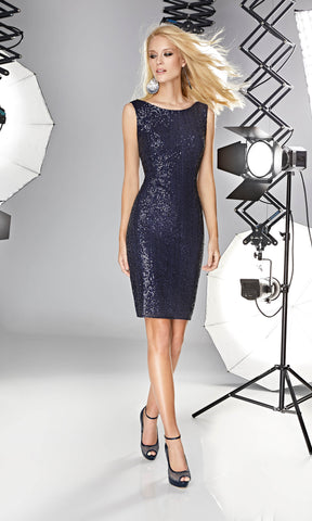 12190022 Night Blue Sonia Pena Sequin Party Dress - Fab Frocks