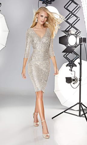 12190026 Champagne Sonia Pena Sequin Dress With Sleeves - Fab Frocks