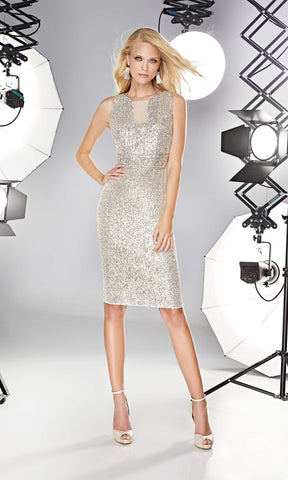 12190027 Champagne Sonia Pena Sequin Party Dress - Fab Frocks