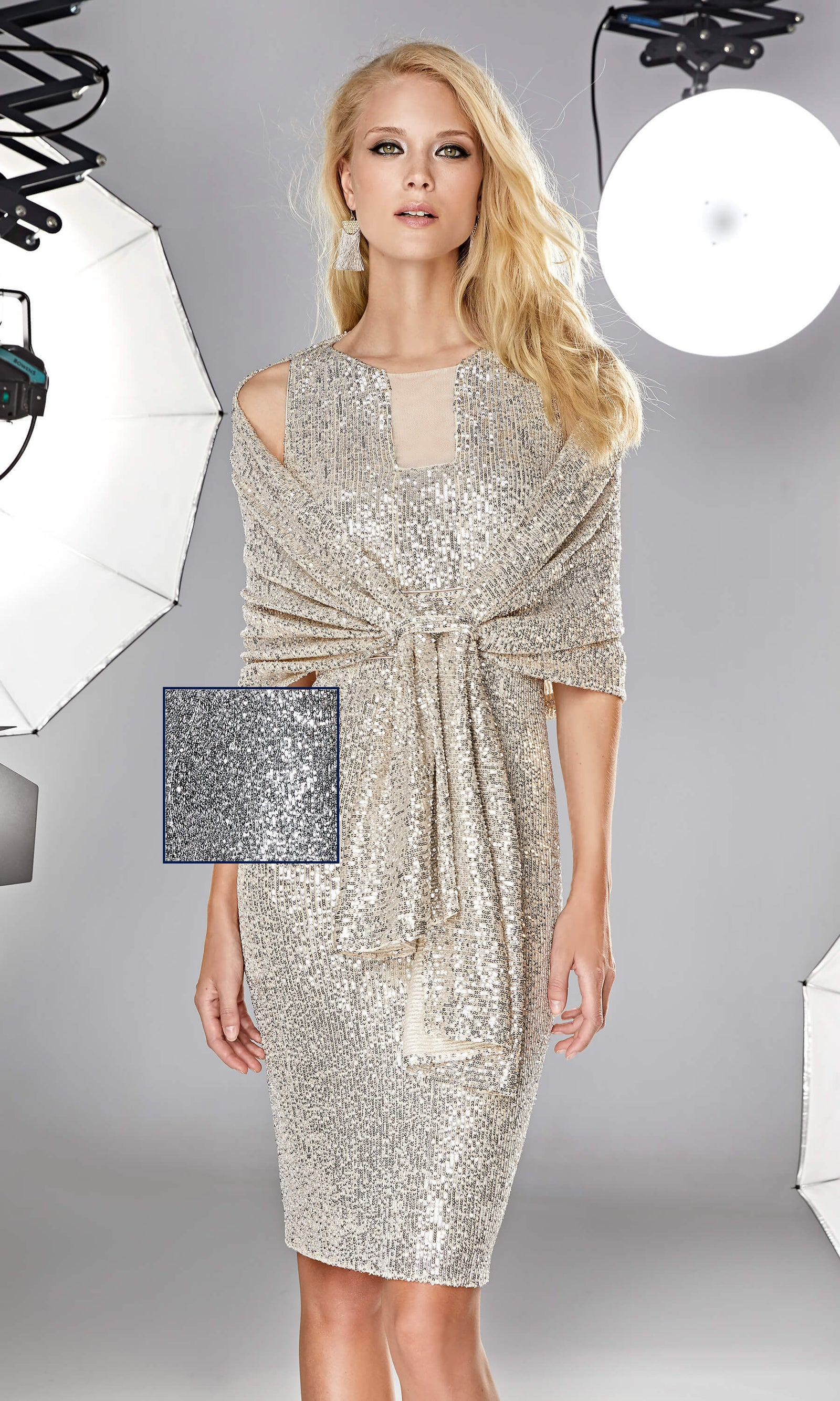 12190028 Anthracite Sonia Pena Sequin Wrap - Fab Frocks