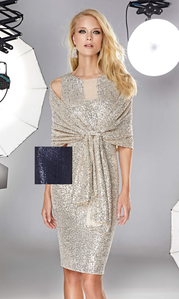 12190028 Night Blue Sonia Pena Sequin Wrap - Fab Frocks