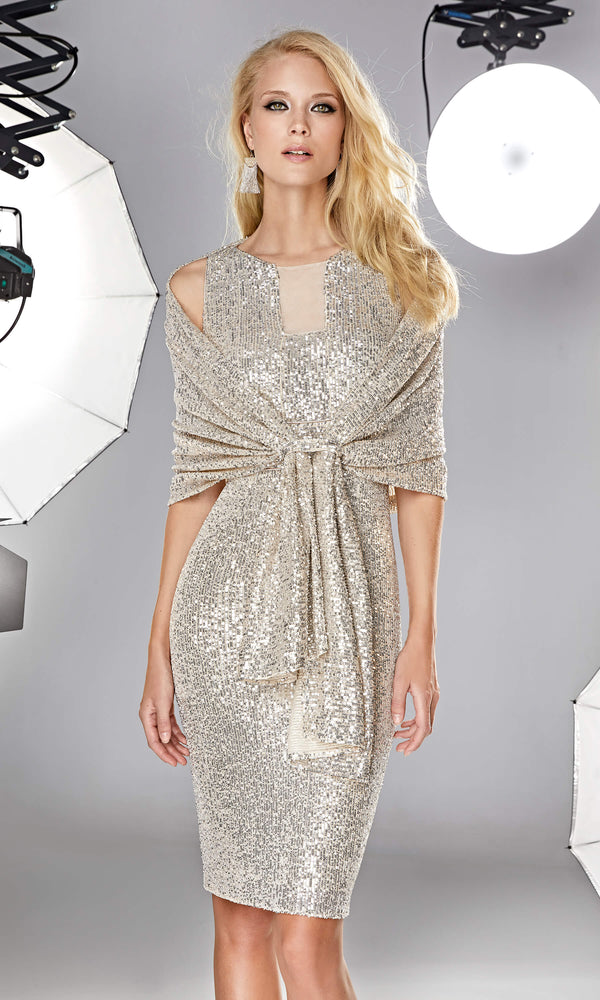 12190028 Champagne Sonia Pena Sequin Wrap - Fab Frocks