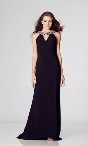Atlanta* Black Tiffanys Crystal Neck Evening Prom Dress - Fab Frocks