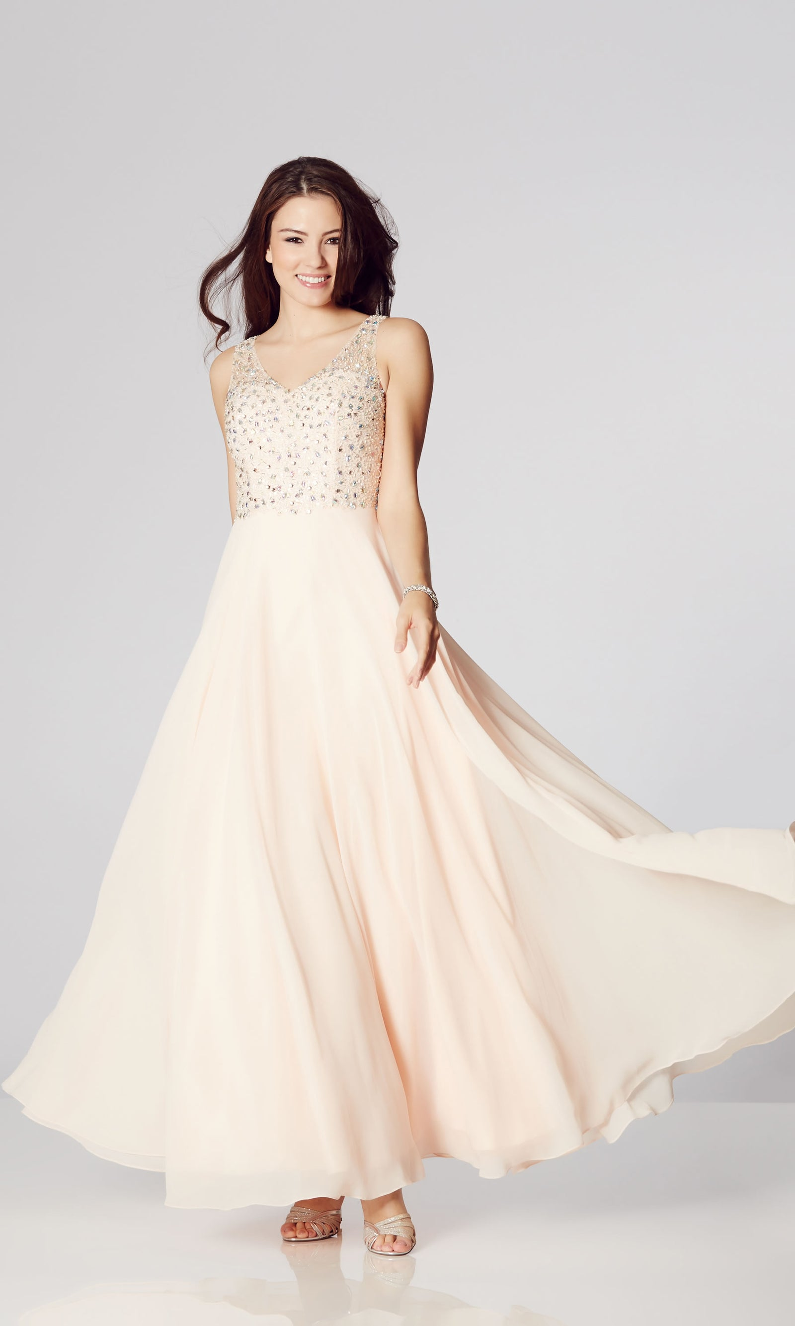 Becky* Nude Tiffanys Chiffon Evening Prom Dress