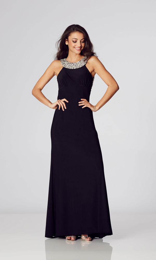 Chicago* Black Tiffanys Crystal High Neck Dress - Fab Frocks