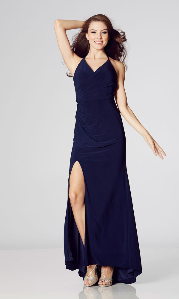 Tara Navy Tiffanys Illusion Evening Prom Dress With Low Back - Fab Frocks