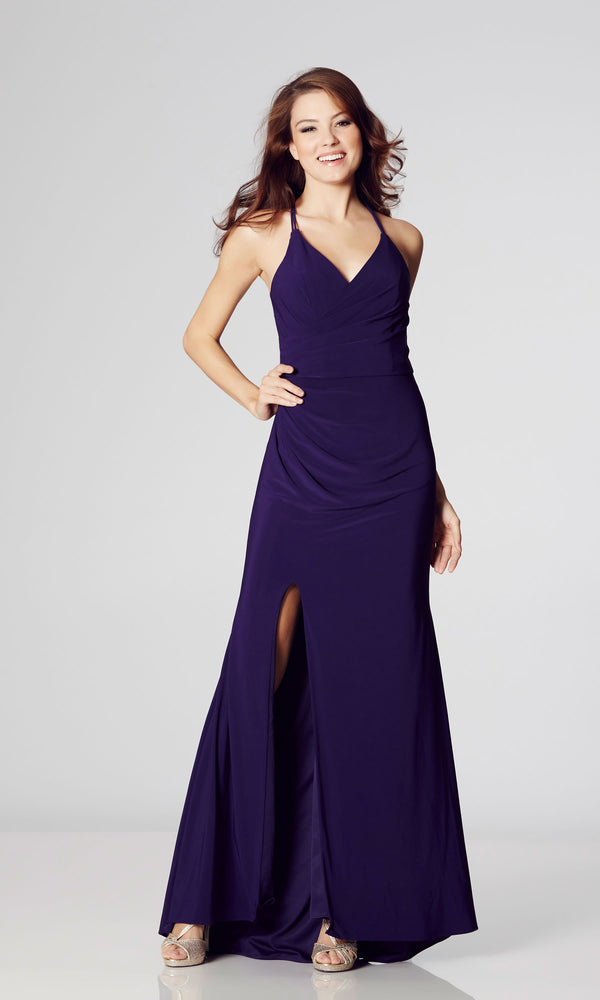Tara Purple Tiffanys Illusion Low Back Evening Prom Dress - Fab Frocks