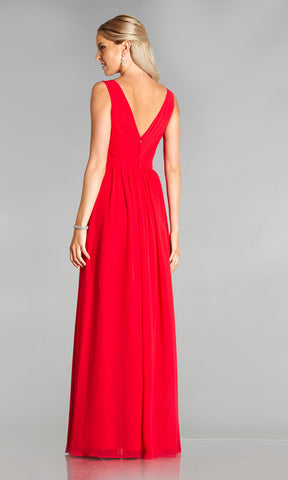 Maria* Red Tiffanys Plain Prom Dress With High Neck