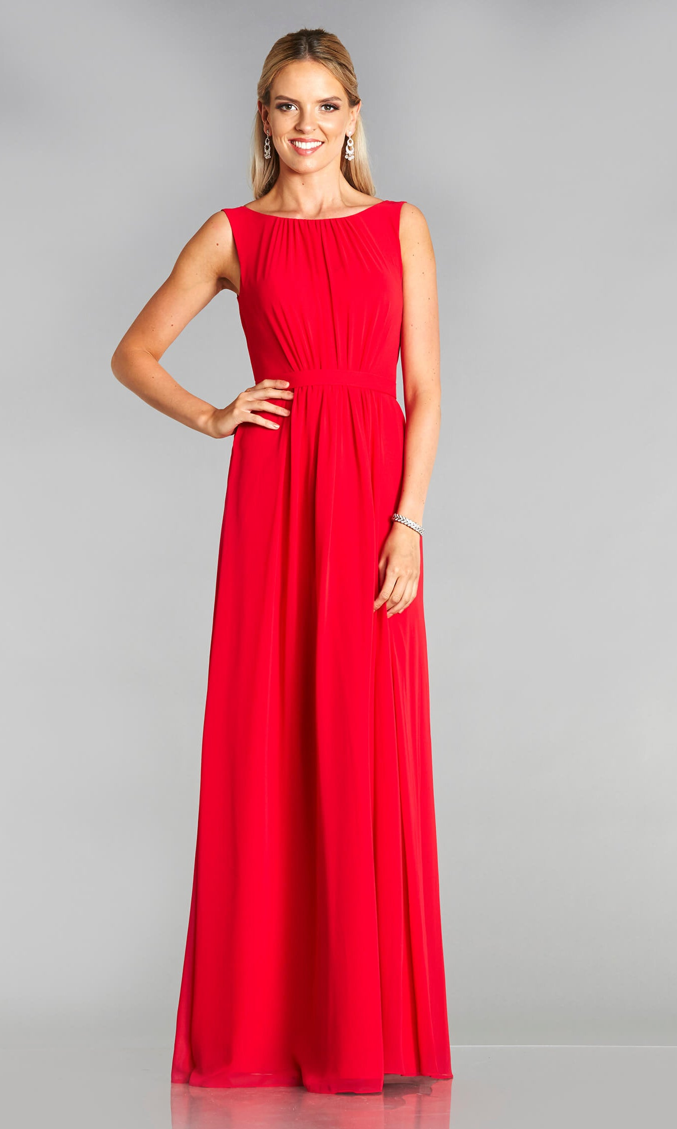 Maria* Red Tiffanys Plain Prom Dress With High Neck - Fab Frocks