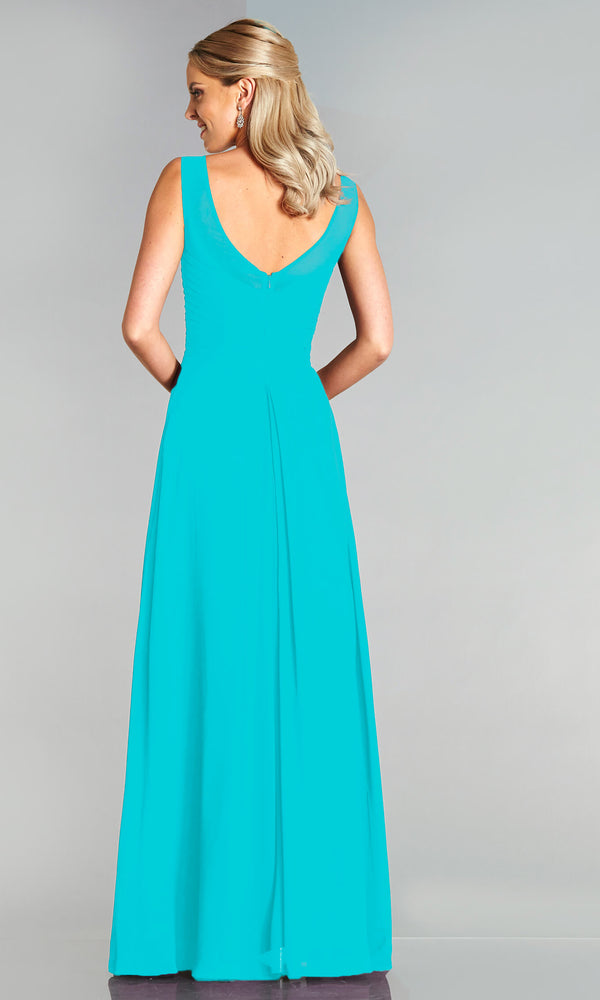 Melody* Turquoise Tiffanys High Neck Plain Prom Dress - Fab Frocks
