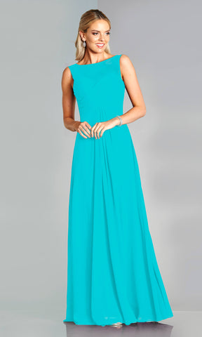 Melody* Turquoise Tiffanys High Neck Plain Prom Dress