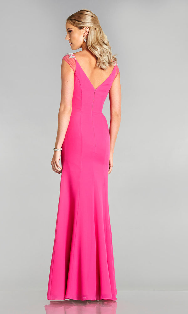 Parker* Hot Pink Tiffanys Evening Prom Dress Net Shoulder