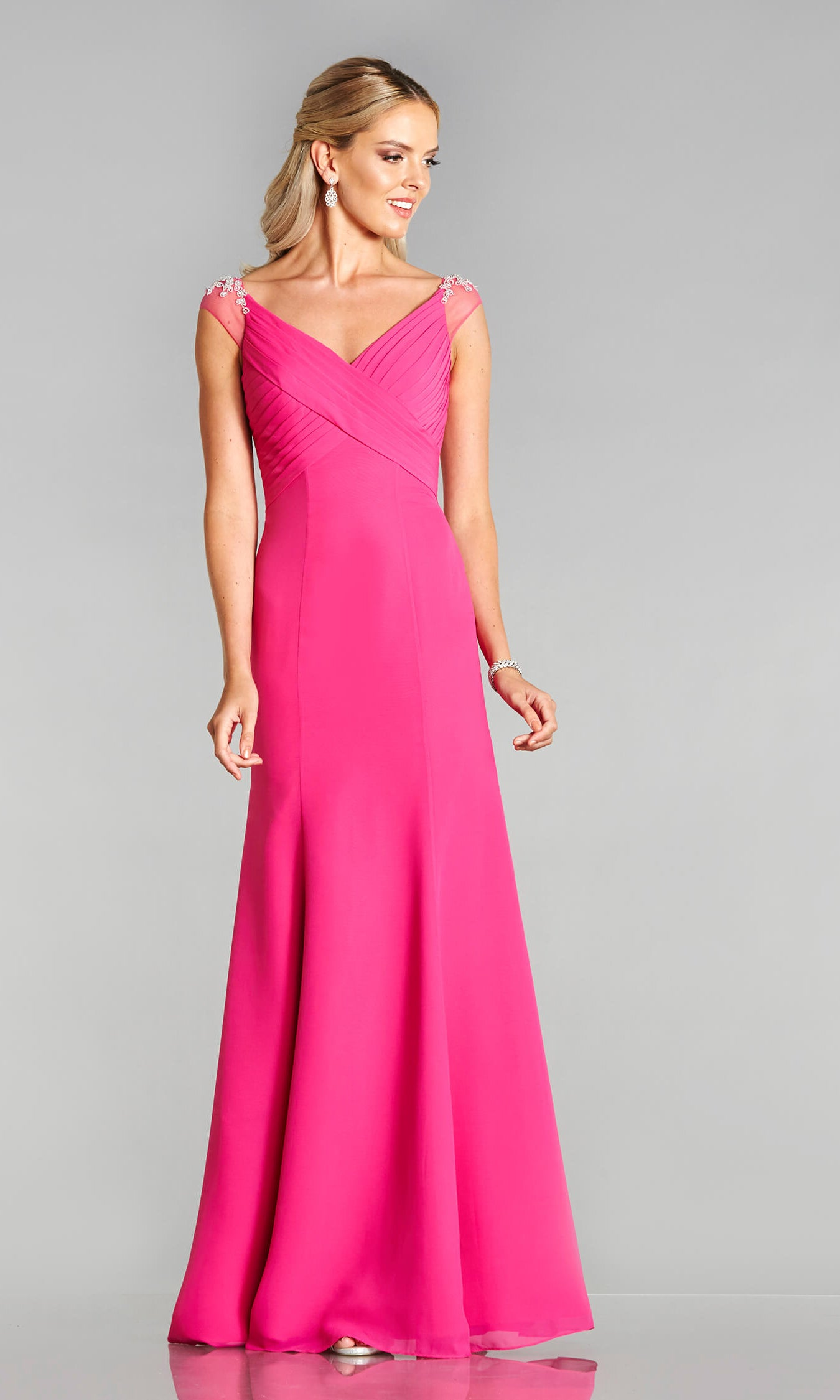 Parker* Hot Pink Tiffanys Evening Prom Dress Net Shoulder - Fab Frocks