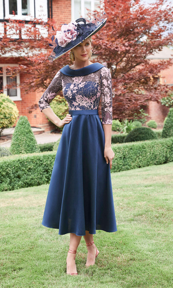 Veni Infantino 991721 Navy Rose Midi Dress With Sleeves - Fab Frocks