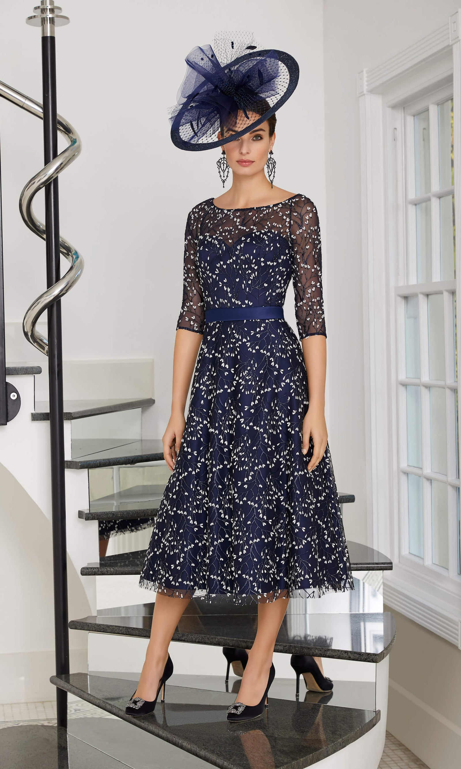 29512A Veni Infantino Ronald Joyce Navy Occasion Dress - Fab Frocks