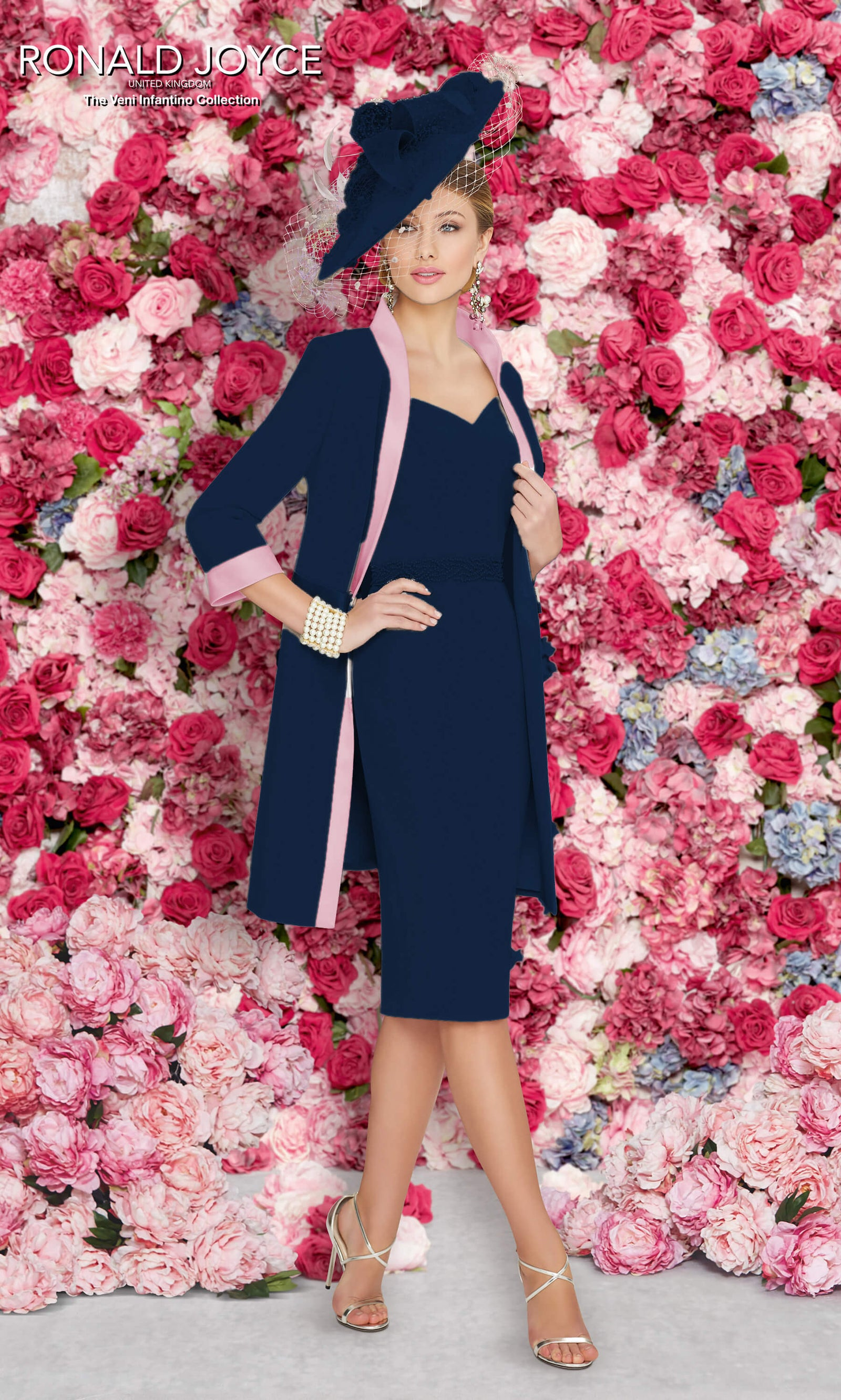 991255 Navy Blush Veni Infantino Dress & Frock Coat - Fab Frocks