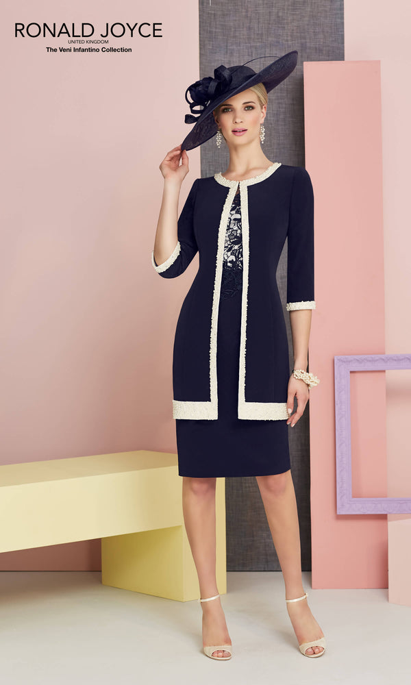 991314 Navy Ivory Veni Infantino Dress & Frock Coat - Fab Frocks