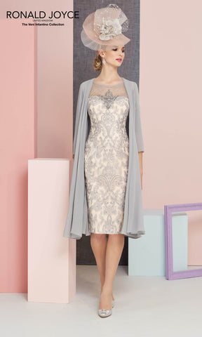 991329 Steel Blossom Veni Infantino Dress & Chiffon Coat - Fab Frocks